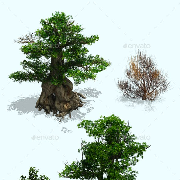 2.5D Tree Plant Environment Construction Kit PSD for Game Assets