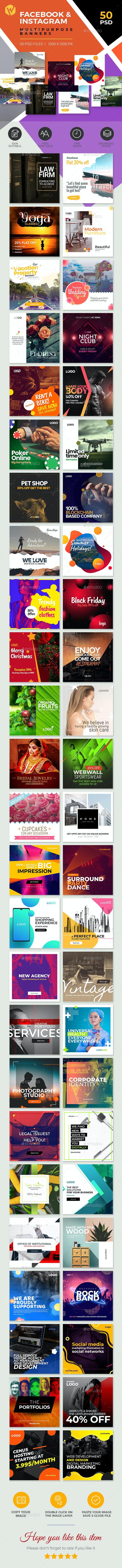 50-Facebook & Instagram Banners - Social Media Web Elements