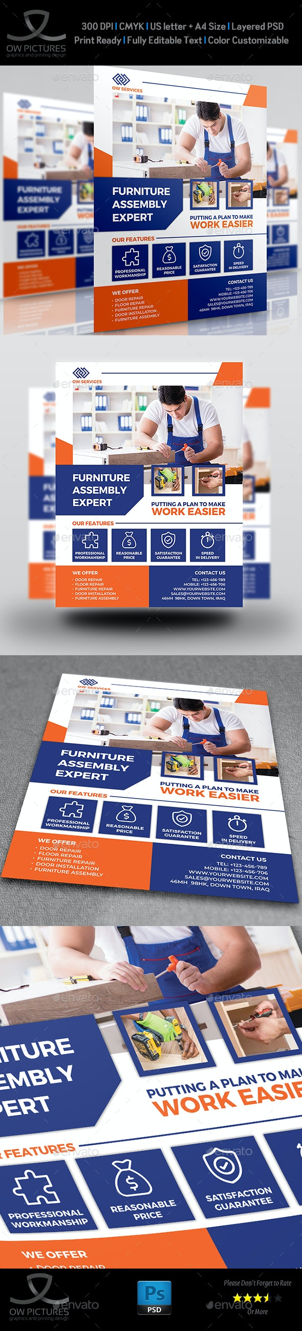 Furniture Assembly Services Flyer Template - Commerce Flyers