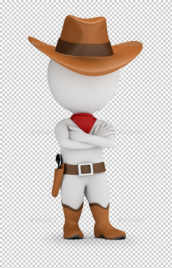 3D Small People - Cowboy - Characters 3D Renders