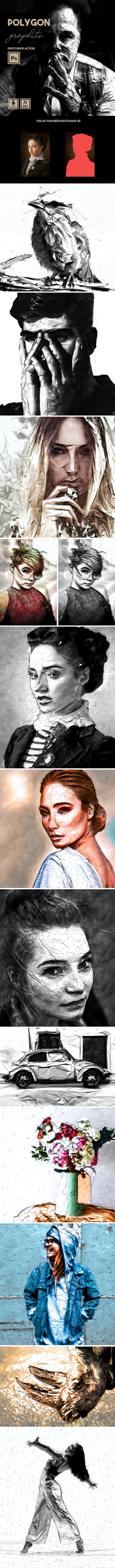 Polygon Graphite Photoshop Action - Photo Effects Actions