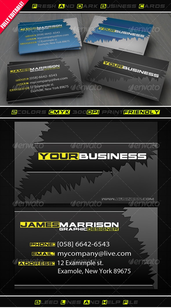 Fresh and Dark Business Cards - Creative Business Cards
