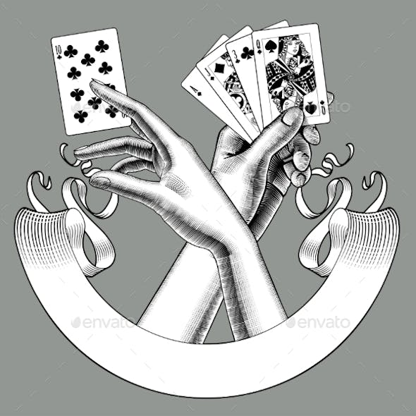 Hands with Playing Cards and Ribbon Banner