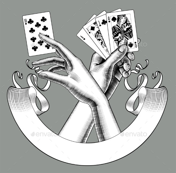 Hands with Playing Cards and Ribbon Banner - Miscellaneous Vectors