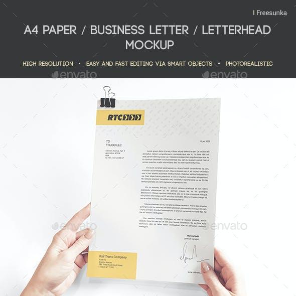 A4 Paper / Business Letter / Letterhead Mockup