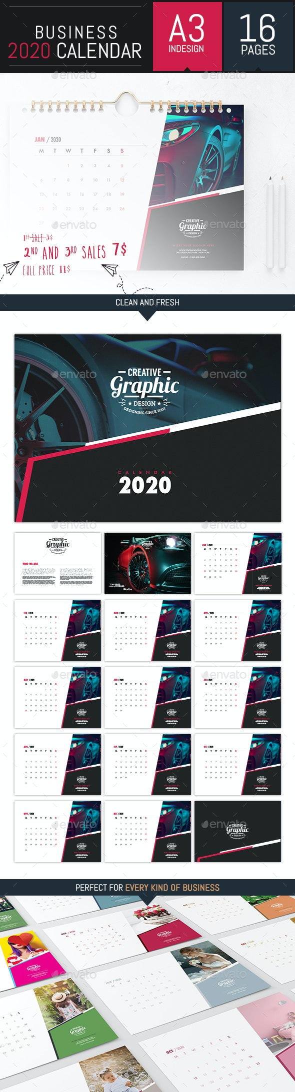 Business Calendar 2020 Template - InDesign - Calendars Stationery