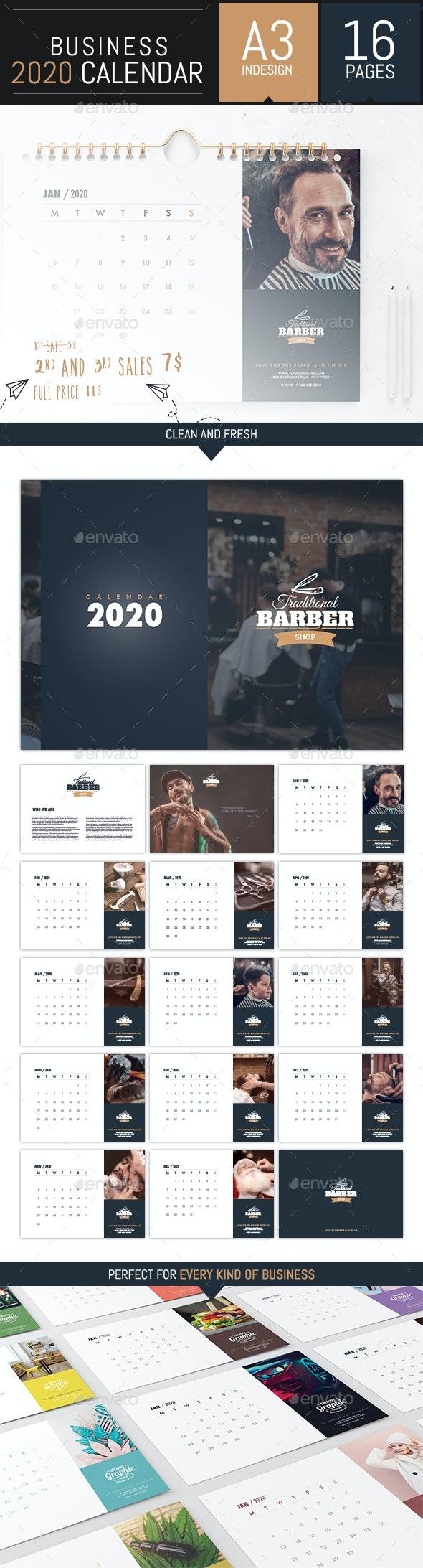 Business Calendar 2020 Template - InDesign - Calendars Stationery