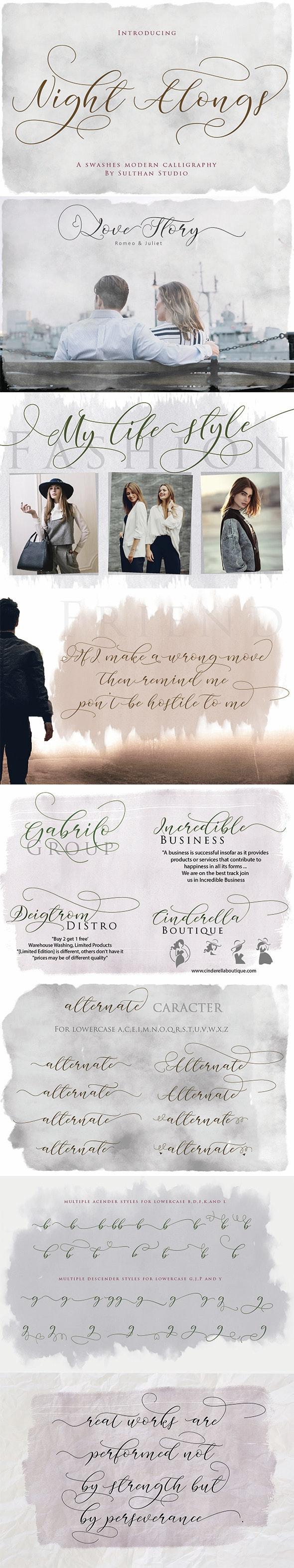 Night Alongs - Script Fonts