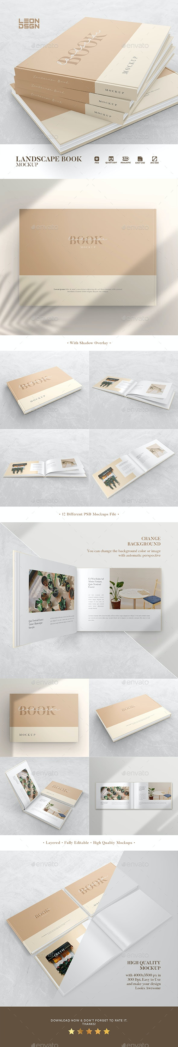 Landscape Book Mockup - Books Print