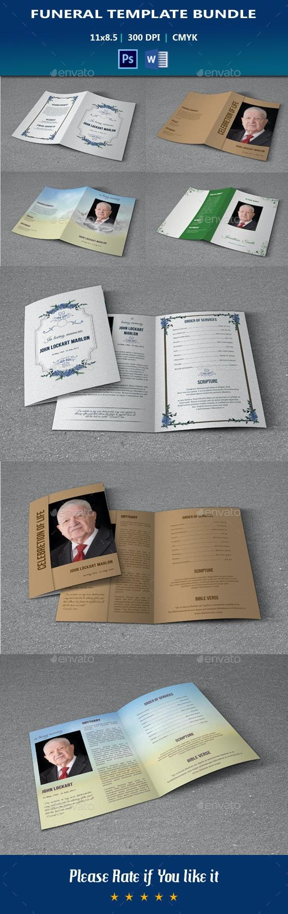 Funeral Program Template Bundle V01 - Informational Brochures