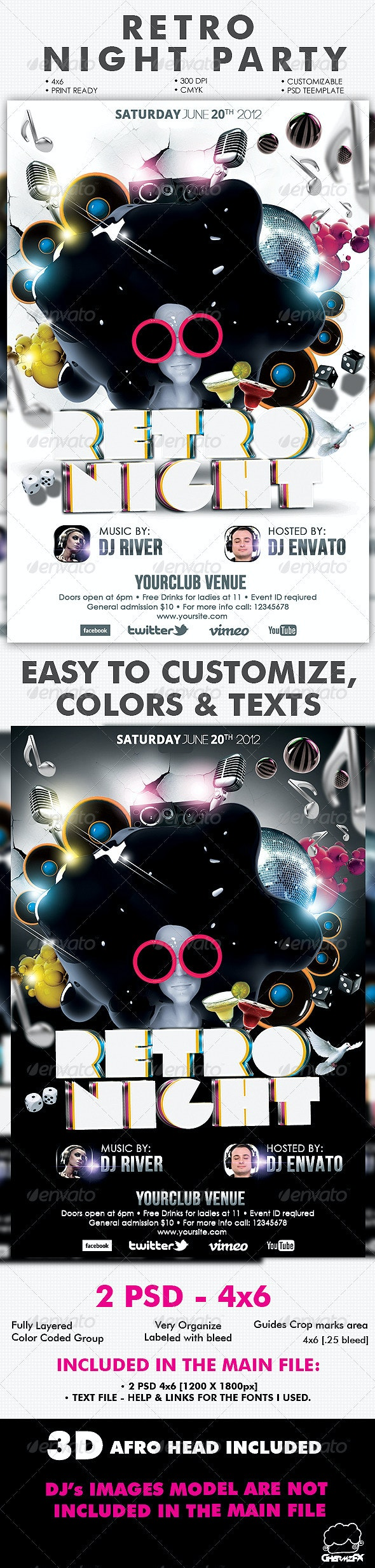 Retro Night Party Flyer Template - Flyers Print Templates