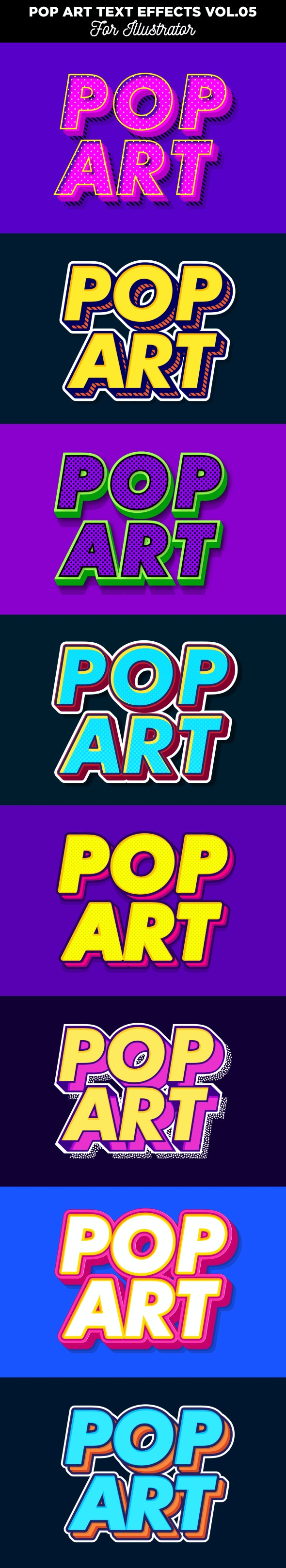 Pop Art Text Effects for Illustrator - Styles Illustrator