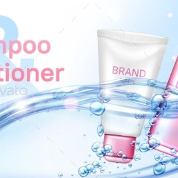 Shampoo and Conditioner in Water Flow Realistic