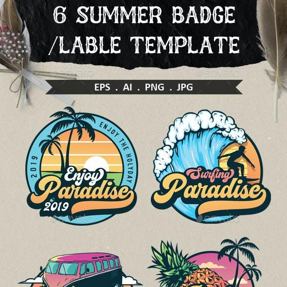 6 Summer Badge and Emblems