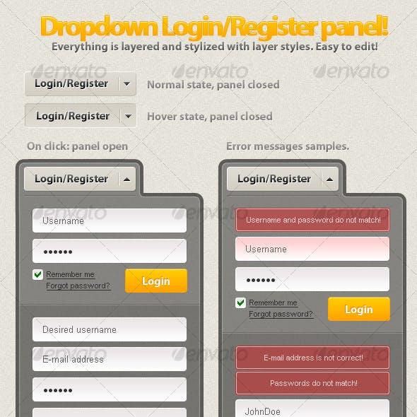 Dropdown Login/Register Panel