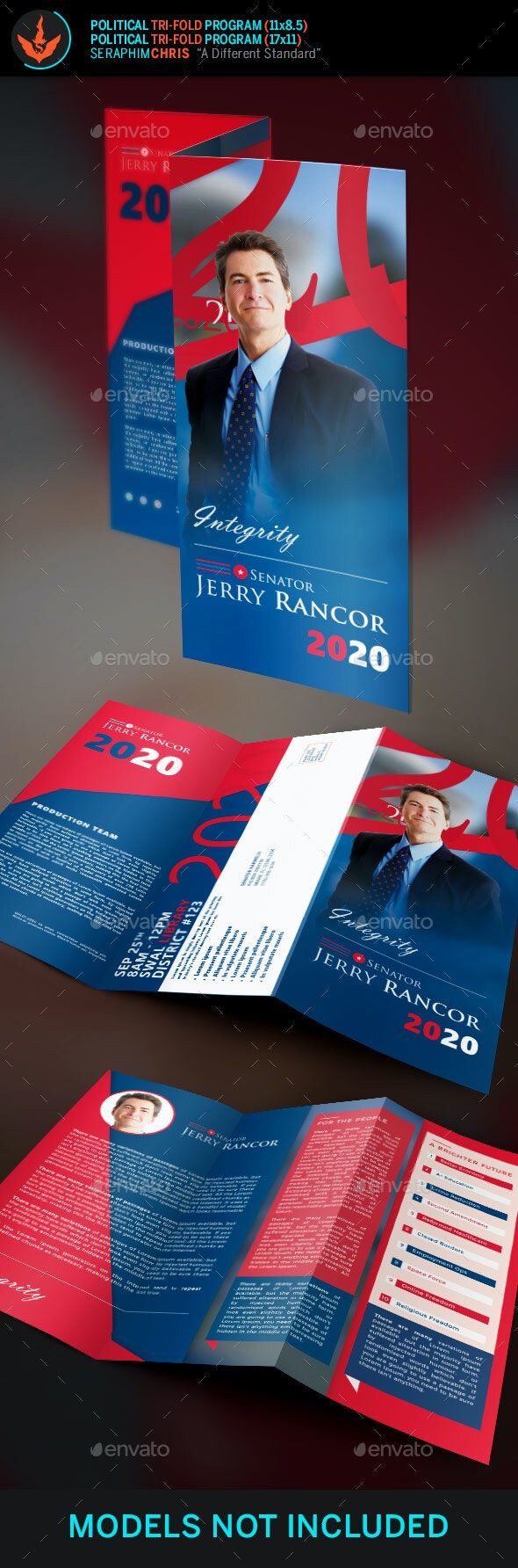 Political Election Tri-Fold Brochure Template - Corporate Brochures