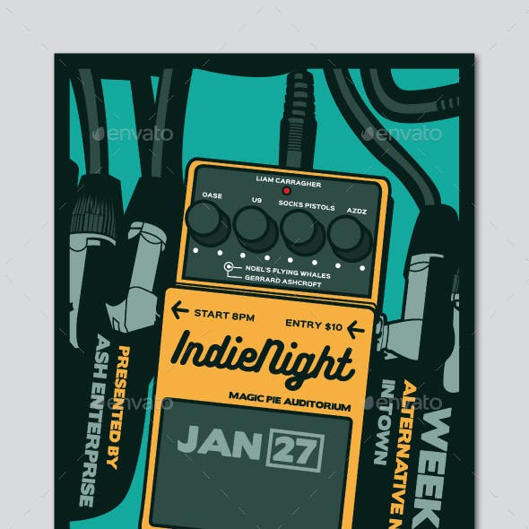 Guitar Pedal Indie Night Flyer