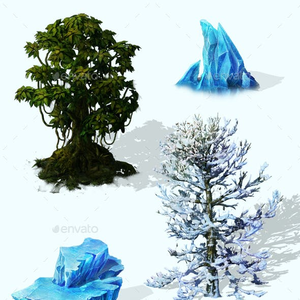 2.5D Snow Ice Environment Construction Kit Game Assets
