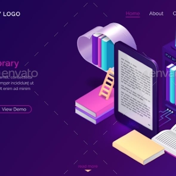 Online Library, Electronic Reading Isometric