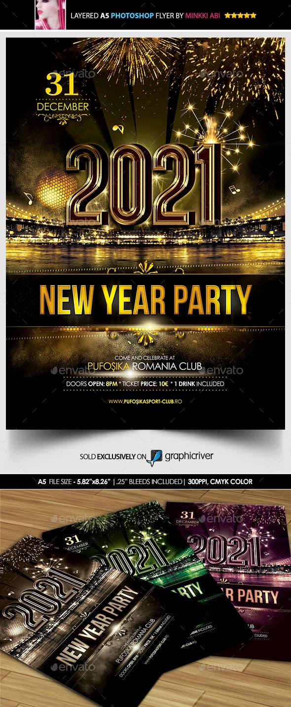 New Year Party Poster/Flyer by Minkki   GraphicRiver