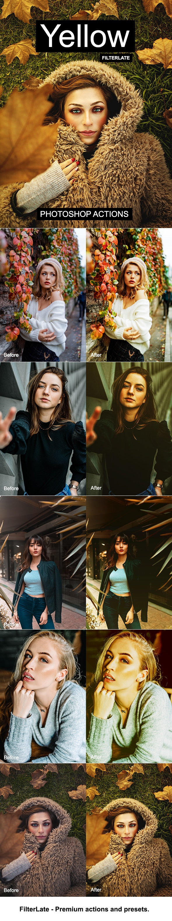 Yellow Photoshop Actions - Photo Effects Actions