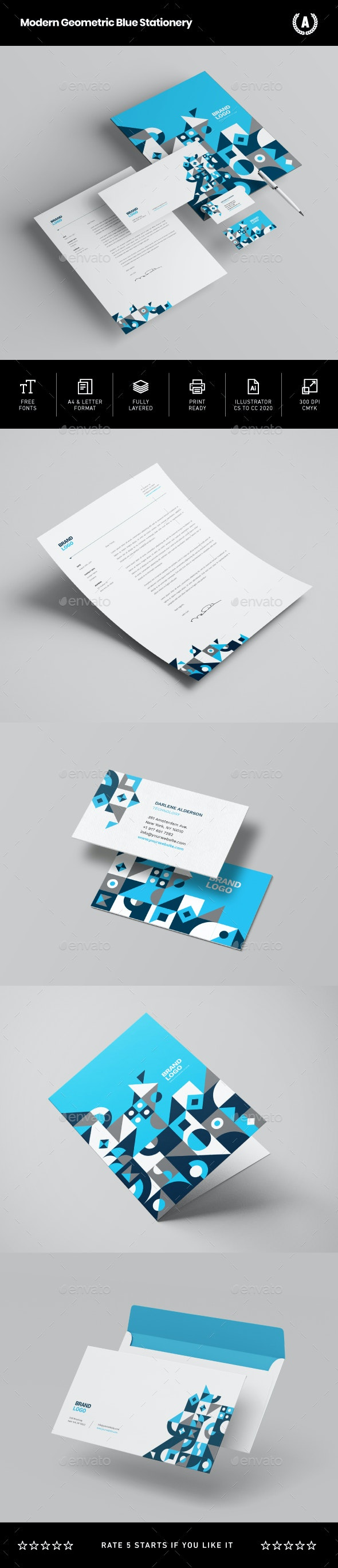 Modern Geometric Blue Stationery - Stationery Print Templates