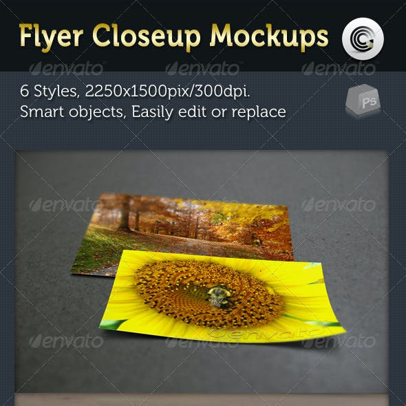 Flyer Closeup Mock-ups