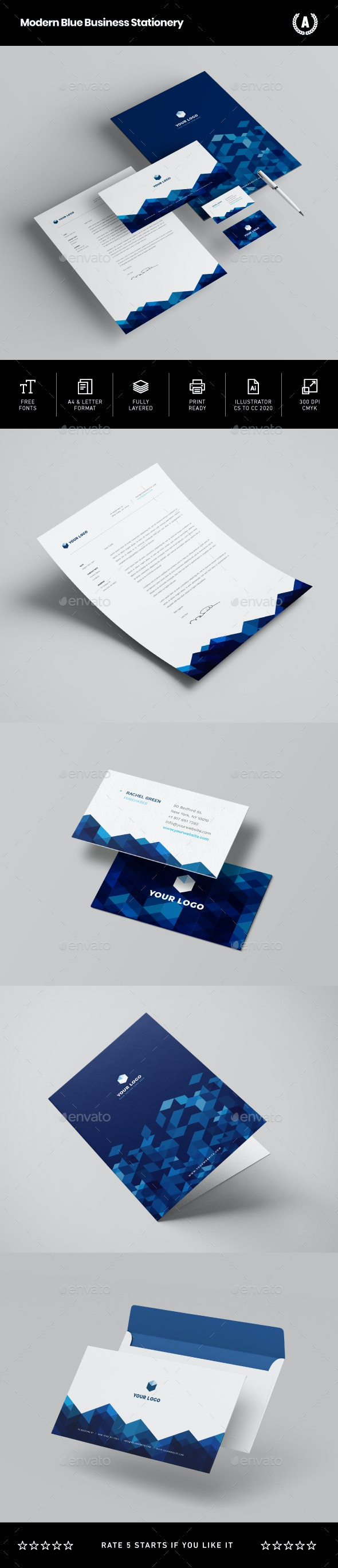 Modern Blue Business Stationery - Stationery Print Templates