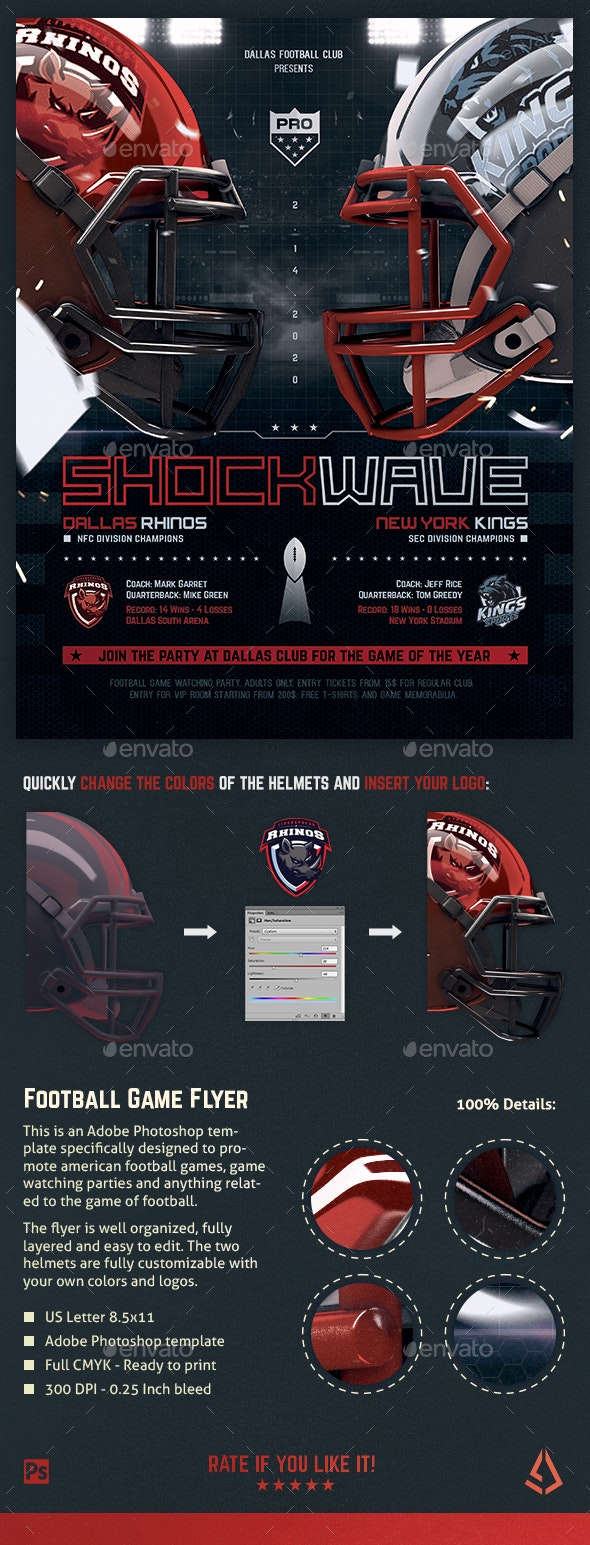 American Football Flyer v10 Football Match Template - Sports Events