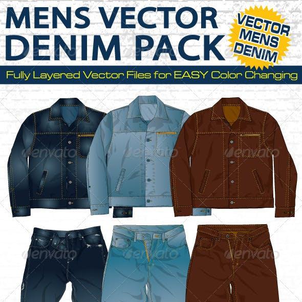 Mens Denim Vector Flats Mock-Ups - Fashion Design