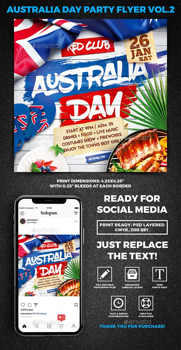 Australia Day Party Square Flyer vol.2 - Holidays Events