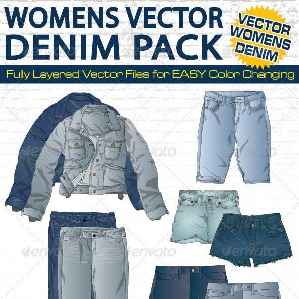 Womens Denim Vector Flat Mock-Ups - Fashion Design