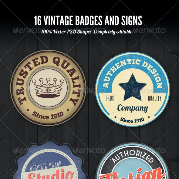 PSD Vintage Style Badges and Logos