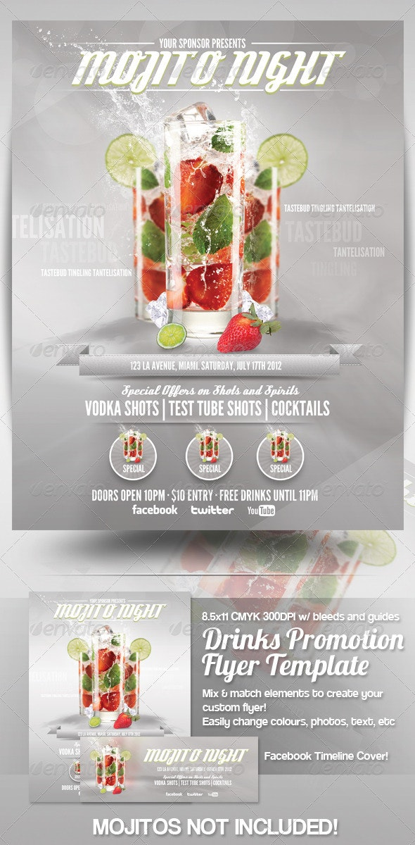 Drinks Advert Flyer Template - Clubs & Parties Events