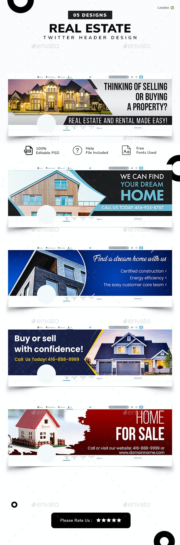 Real Estate Twitter Cover Templates - 05 Designs - Twitter Social Media