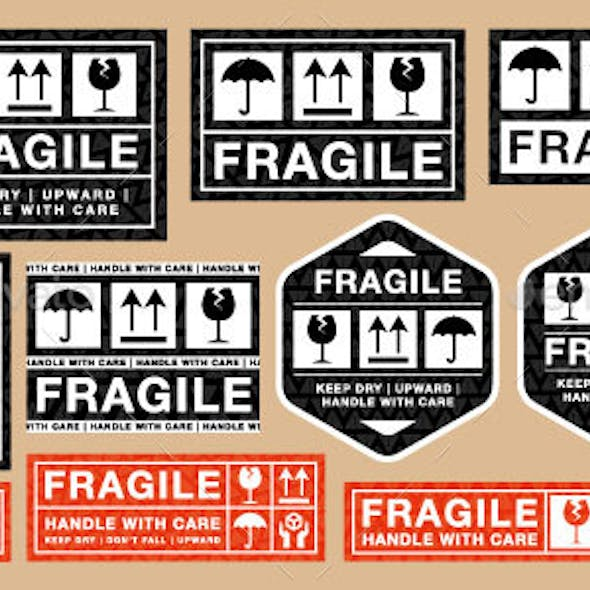 Shipping Labels – Vector Fragile Sticker