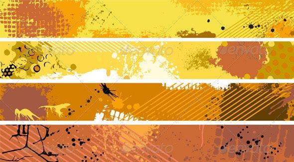 Grunge Orange Banner Set - Backgrounds Decorative