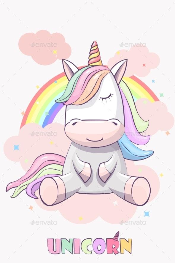 Unicorn with Rainbow Hair on a Rainbow - Animals Characters