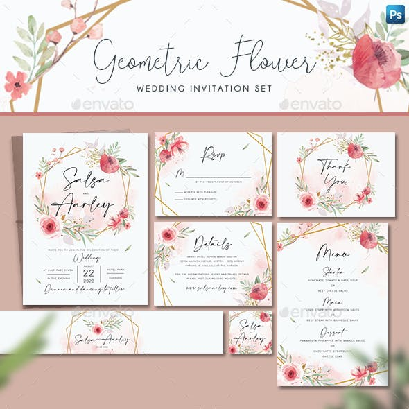 Geometric Flower Wedding Invitation