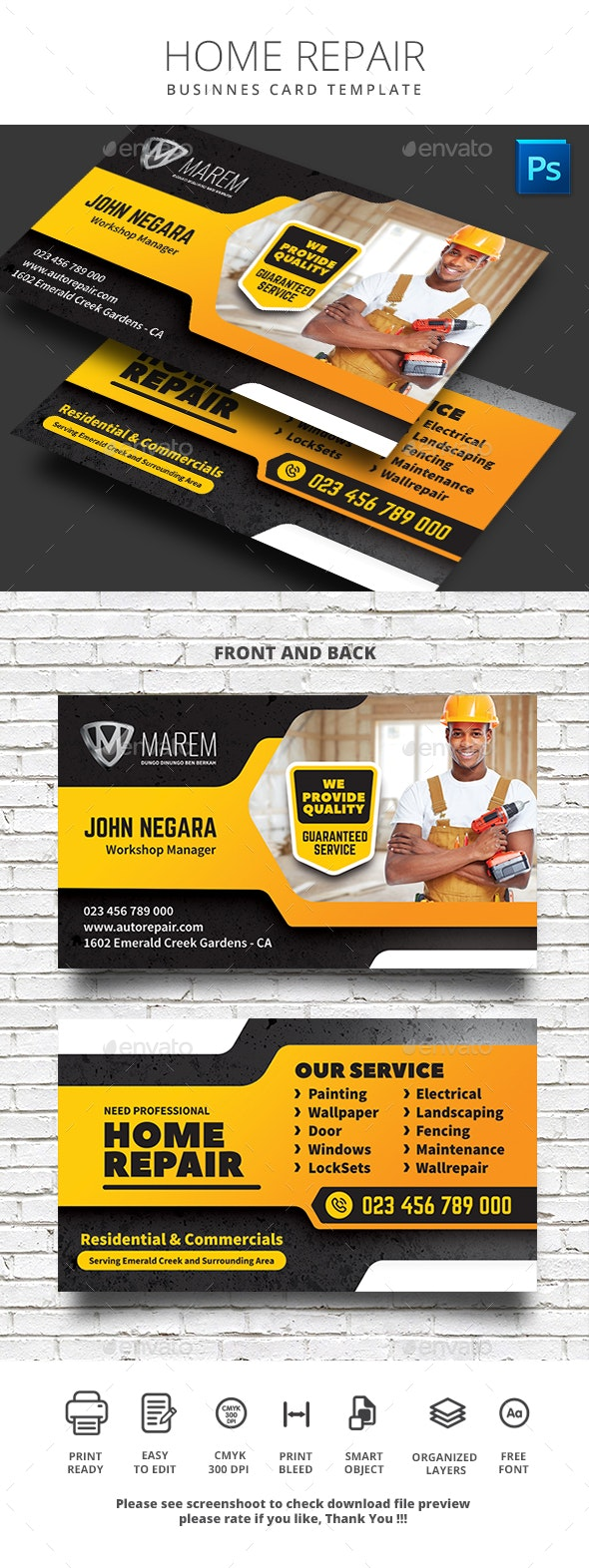 Home Repair Business Card - Business Cards Print Templates