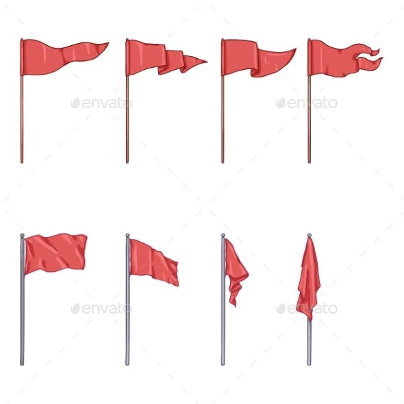 Vector Set of Cartoon Flags on Flagpoles