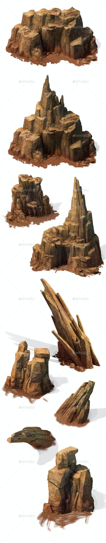 2.5D Desert Rocks Game Assets - Miscellaneous Game Assets