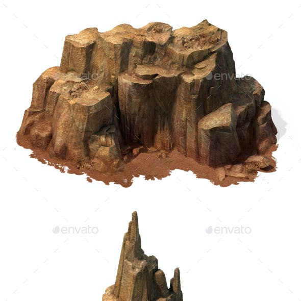 2.5D Desert Rocks Game Assets