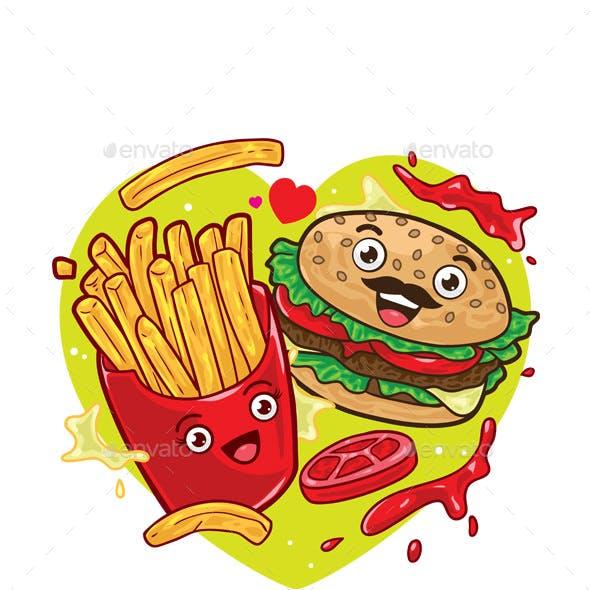 French Fries and Hamburger Cartoon Character