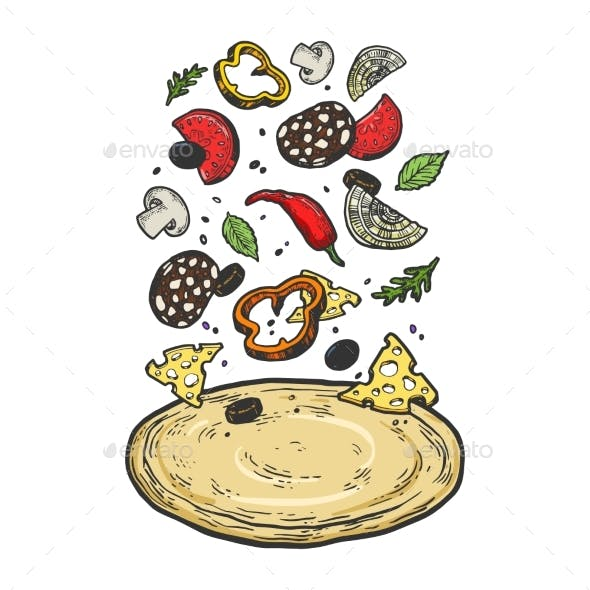 Pizza with Flying Ingredients Sketch Vector