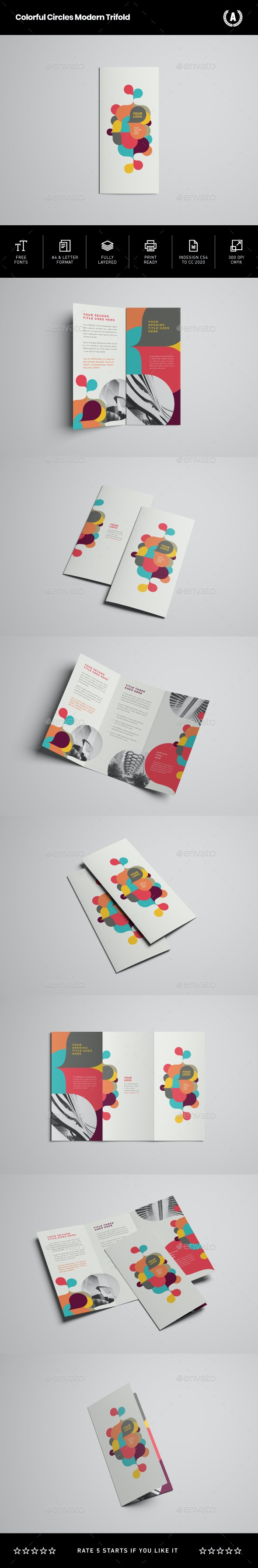Colorful Circles Modern Trifold - Brochures Print Templates
