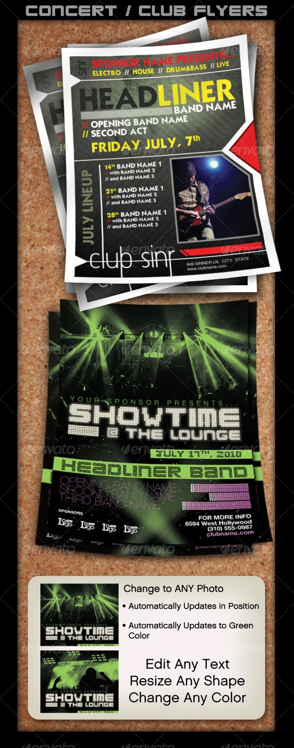 Flyer Set - Concert or Club Template - Concerts Events