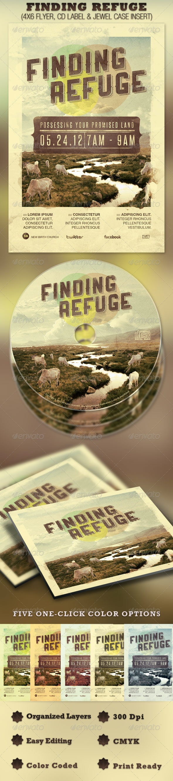 Finding Refuge Church Flyer and CD Template - Church Flyers