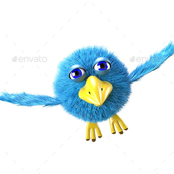 3D Illustration Blue Cartoon Bird Flies