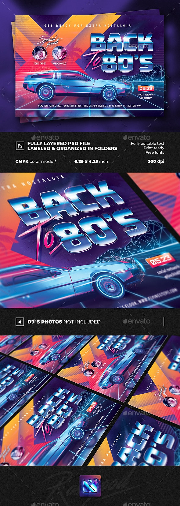 Back to 80`s Party Flyer Template - Clubs & Parties Events